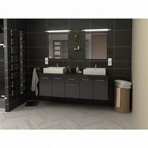 Meuble Salle De Bain Double Vasque 100 Cm : meuble de salle de bain double vasque 150 cm gris olivia ~ Teatrodelosmanantiales.com Idées de Décoration