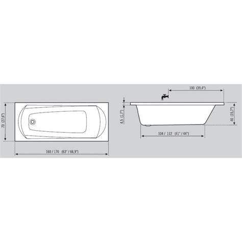 baignoire 170 x 70 baignoire balneo droite hydromassante space 170 x 70
