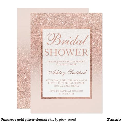 Glitter Bridal Shower Invitations by Faux Gold Glitter Chic Bridal Shower