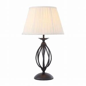 Black Table Lamp in Traditional Styling with Ivory Pleated ...