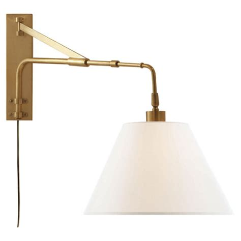 brompton extension swing arm in brass with linen