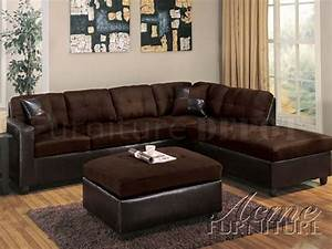 modern sectional sofa 10100 chocolate With mushroom microfiber contemporary sectional sofa w ottoman