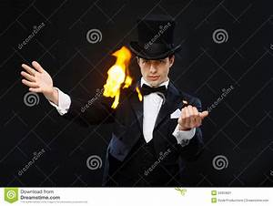 Magician In Top Hat Showing Trick With Fire Stock Image ...