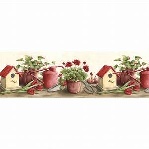shop norwall 95 in red prepasted wallpaper border at With kitchen cabinets lowes with red poppy flower wall art