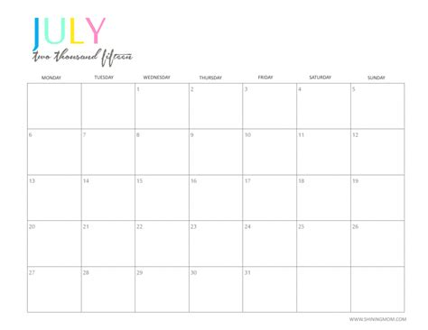 printable monthly calendar imom printable calendar