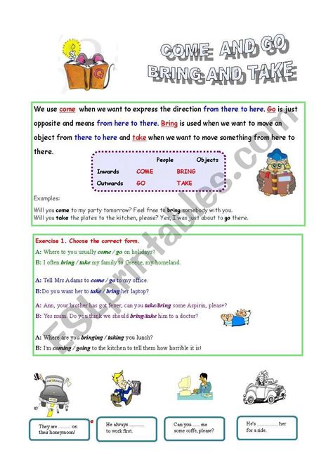What Are You Bringing To The by Come And Go Bring And Take Esl Worksheet By Kmochniak
