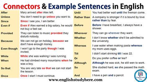 connectors   sentences  english english
