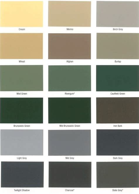 dulux 962 roof membrane colour chart