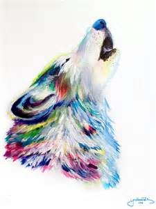 Colorful Acrylic Painting Howling Wolf