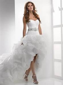 custom made high low strapless wedding dresses front short With short beaded wedding dress