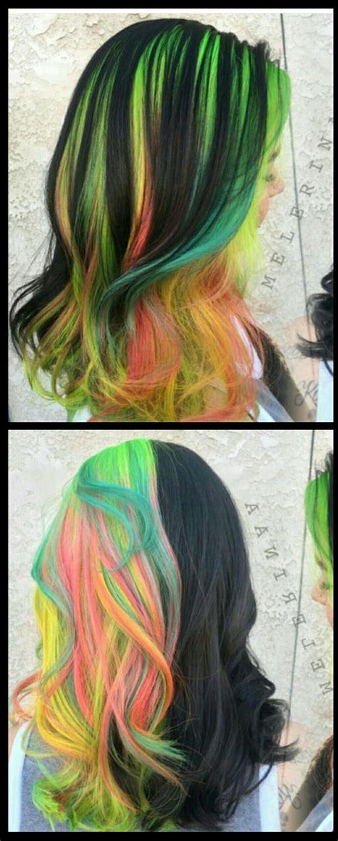 Rainbow Green Black Dyed Hair Color Hair Dyed Hair
