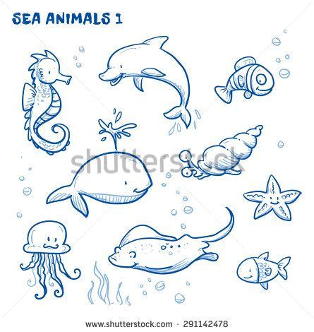 cute cartoon sea water animals whale fish dolphin