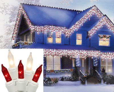 set of 100 candy cane red and clear frosted mini icicle