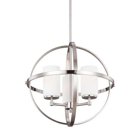 single chandelier sea gull lighting alturas 19 in w 3 light brushed nickel