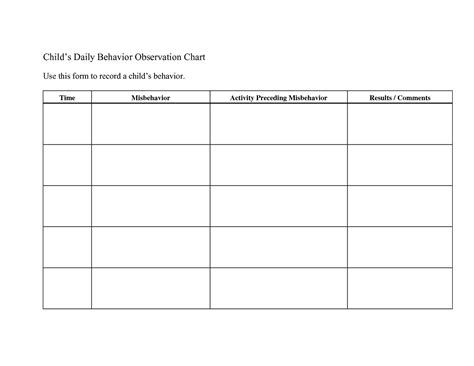 behavior plan template daily behavior chart printable colorful loving printable