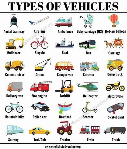 Types Vehicles Vehicle Names Examples English Esl