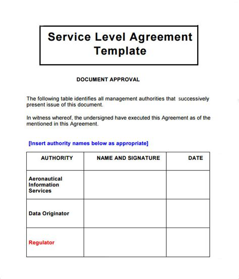 service level agreement    documents