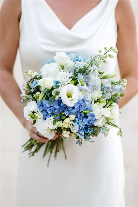 Country Style Bouquet Consiting Of Blue Delphinium And