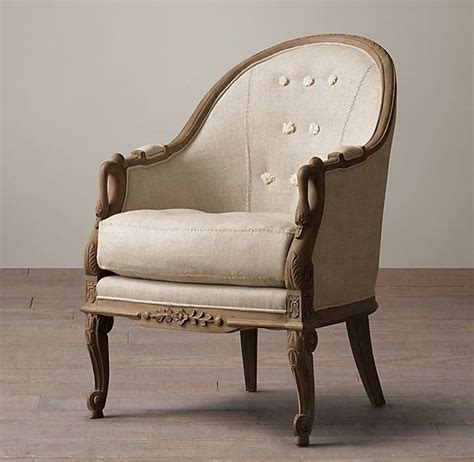 barrel back upholstered swan chair in belgian linen and