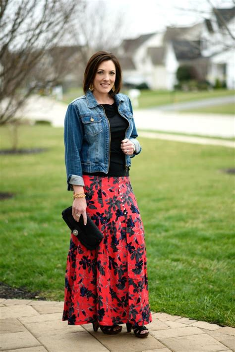 Boho Chic Pimento Red Floral Maxi Skirt
