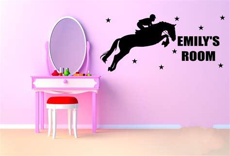custom  personalized jumper horse wall sticker girls