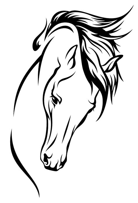 arabian horse drawing silhouette clip art horsehead png
