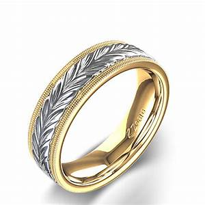double milgrain edged braided mens wedding ring in two With two tone mens wedding ring