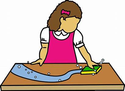 Table Clipart Clean Wipe Person Setting Clip