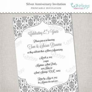 25th silver anniversary printable invitation in blue and With free printable silver wedding anniversary invitations