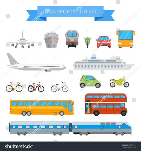 Vector Set Different Transportation Vehicles Isolated Stock Vector 663082045 Shutterstock