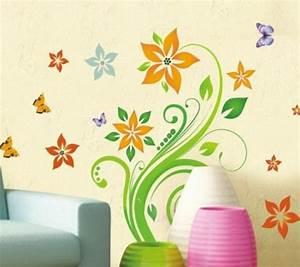 Sticker Für Die Wand Kinderzimmer : wandaufkleber bunte blumen pflanze schmetterling ~ Michelbontemps.com Haus und Dekorationen