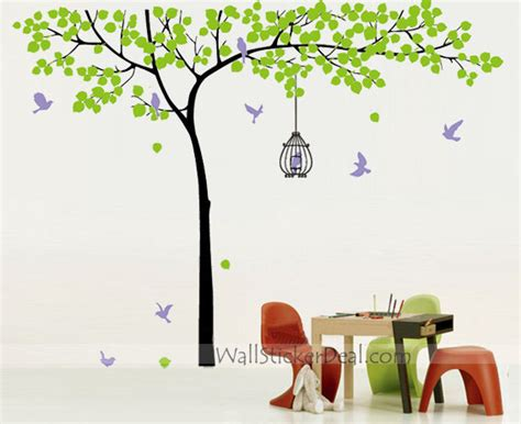 tree with birds and birdcage wall stickers home