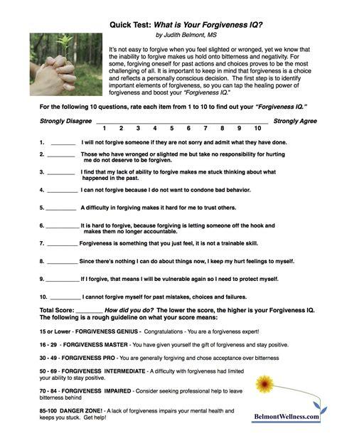 forgiveness worksheets mental health forgiveness self test judith belmont
