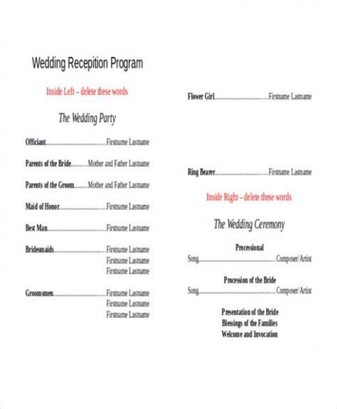 wedding reception program  printable wedding