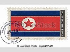 Korea north flag on stamp independence day with date pump