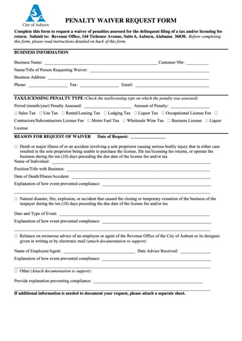 Request for waiver of a penalty requires an evaluation of the facts presented in writing by the employer. Penalty Waiver Request Form - City Of Auburn Alabama printable pdf download