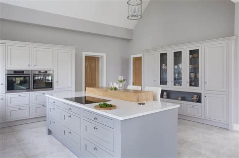 Kitchen Island And Breakfast Bar - classic style inframe painted white and grey kitchen tipperary
