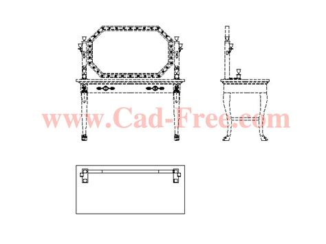 small rectangle table dressing table autocad block free cad blocks dwg