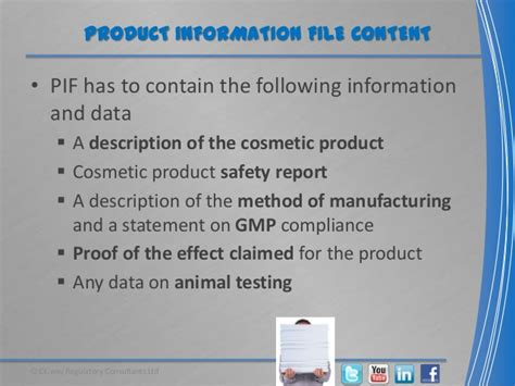 Cosmetics Product Information File (pif