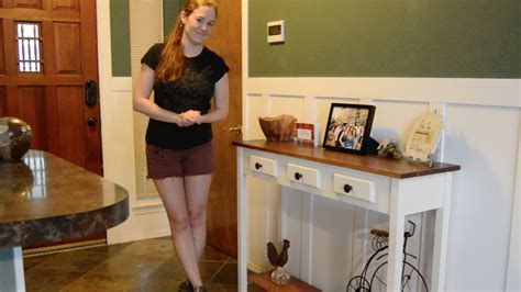 diy entryway table  faux drawers youtube