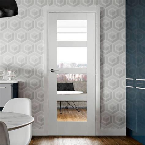 shaker  pane door clear glass white primed