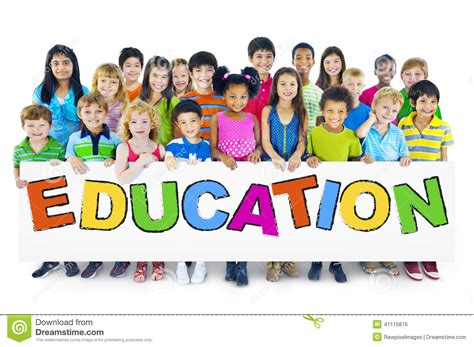large group  children holding board stock photo image