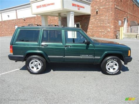 jeep cherokee sport green forest green pearlcoat 2001 jeep cherokee sport exterior