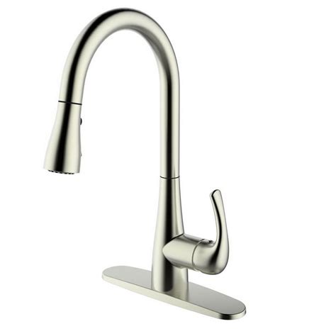 pull kitchen faucet brushed nickel runfine single handle pull down sprayer kitchen faucet in brushed nickel rf422001 the home depot
