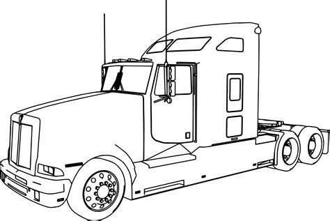 Kenworth T600 Long Trailer Truck Coloring Page