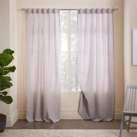 Striped Belgian Flax Linen Curtain  West Elm