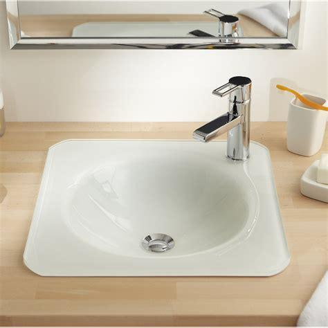 vasque 224 encastrer verre l 45 x p 45 cm blanc lara leroy
