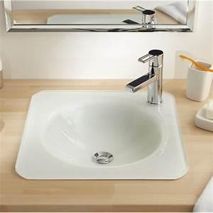 Vasque à Encastrer : vasque encastrer verre x cm blanc lara leroy ~ Edinachiropracticcenter.com Idées de Décoration