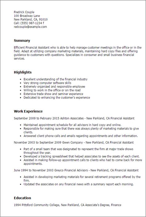 Financial Reporting Specialist Resume by Professional Financial Assistant Templates To Showcase