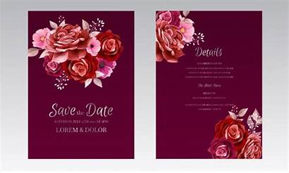 Invitation Card Maroon Template Elegant Rose Flower